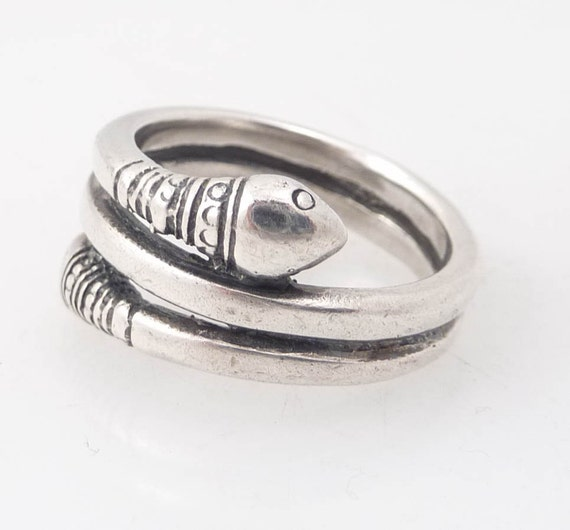 RESERVED for zgloova - Size 7 Vintage Two Headed Sterling Snake Ring