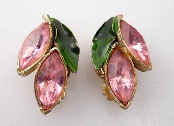 SALE --- Vintage Pink Rhinestone and Green Enamel Petal Earrings