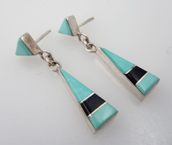 Vintage Sterling Zuni Style Turquoise & Onyx Inlay Triangle Earrings