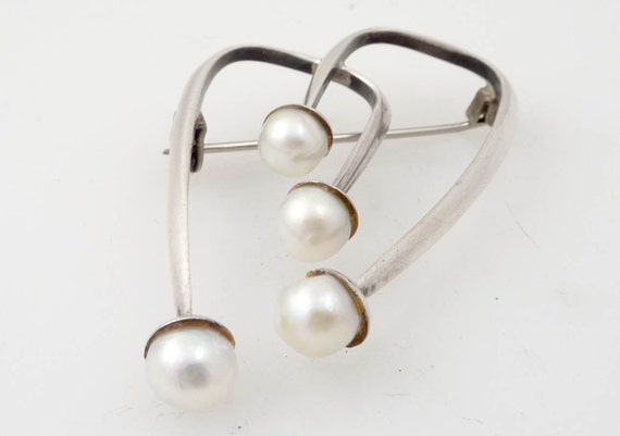 SALE --- Vintage Raw Pearl and Sterling Contemporary Brooch
