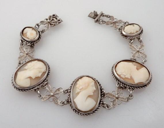 RESERVED for nicolacraze - Antique 800 Silver Magnifcently Deep Carved Cameo Link Bracelet
