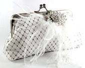 Passion - White Bridal Clutch with Black Netting and Feathery Rhinestone Brooch - 8 inch