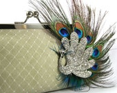 Pastel Green Bridesmaid Bridal Clutch with Peacock Feather Rhinestone Brooch 8-inch PEACOCK PASSION