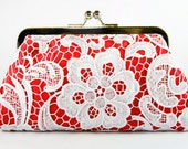 Bridal White Lace Red Clutch - 8-inch L'HERITAGE