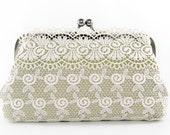 Bridal Bridesmaid Lace Clutch in Pastel Light Green 8-inch L'INNOCENTE