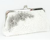 Ivory Bridal Lace Clutch with Flowery Rhinestone Cherry Blossom Lace Vine Brooch 8-inch LHERITAGE II