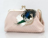 Peacock Feather Bridal Bridesmaid Clutch Bag in champagne 8-inch PEACOCK PASSION