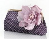 Purple Eggplant Bridal Bridesmaids Clutch with Silk Flower Brooch