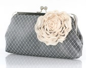 Shimmery Gray Bridal Bridesmaids Clutch with Organza Rose in champagne brooch 8-inch PASSION