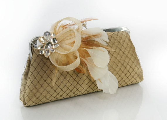 Fascinator Passion - Gold Thai Silk Clutch with Rhinestone Fascinator - 8 inches