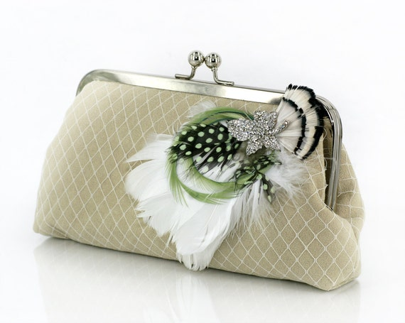 Light Green Bridesmaids or Bridal Clutch with Rhinestone Feather Brooch 8-inch PASSION