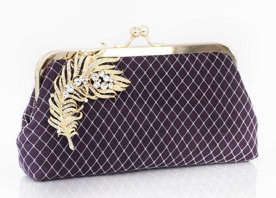 Purple Eggplant Clutch with Peacock Feather Rhinestone Brooch in gold tone 8-inch PASSION