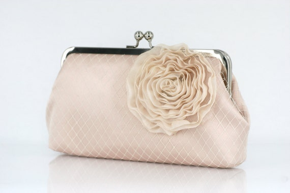 Champagne Bridal Bridesmaids Clutch with Organza Rose brooch 8-inch PASSION