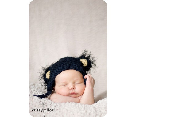 Super Soft Textured Crochet Newborn Hat 'Little Bear' With Fuzzy Ears BLACK COLOR GREAT PHOTO PROP GREAT BABY SHOWER GIFTS