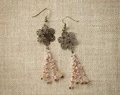 Westminster Abbey  - Pink Champagne Flower Dangle Earrings