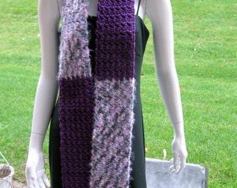 Crochet Scarf, Purple, Gray and Grape, Striped Blocks
