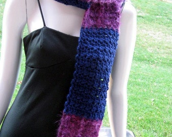 Crochet Scarf, Striped Purple Royal Blue Persuasion Fuzzy Blocks