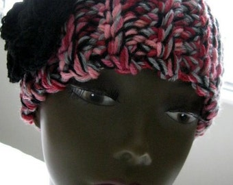 Crochet Headband, Adult Cranberry Red, Black, Pink and Slate Gray Wide Flower Wrap