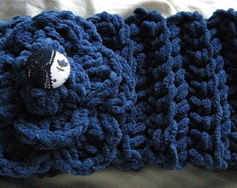 Crochet Flower Headband, Denim Suede Lace Button Wrap