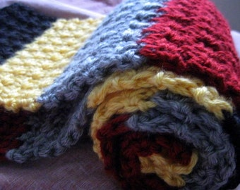 Scrap Art Scarf, Multicolor Long Gray, Black, Yellow and Red Striped Crochet Blocks