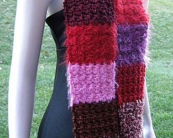 Scrap Art Scarf, Multicolor Red, Rose, Brown, Pink, Maroon, and Purple Soft Fuzzy Crochet Striped Blocks