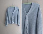 vintage UNISEX sky blue knit HEATHERED cardigan. men's size s m / women's size m l xl.