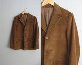 vintage men's '70s brown CORDUROY WESTERN BLAZER. size s.
