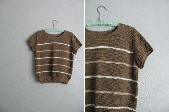 vintage '70s/'80s MILK CHOCOLATE brown STRIPED short sleeve sweater top.