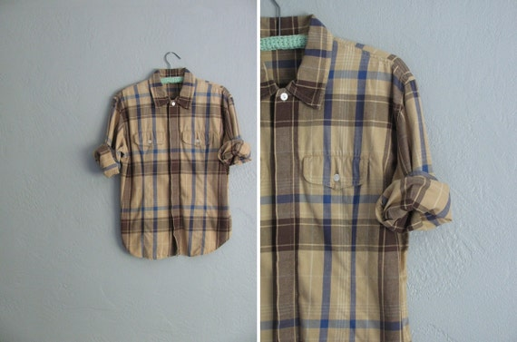 s a l e . vintage TOFFEE PLAID GRUNGE button-up shirt.