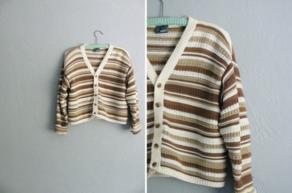 vintage '80s brown, taupe & cream KNIT STRIPED CARDIGAN. size s m l.