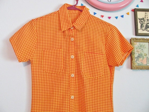 Sale Vintage Orange Yellow Gingham Shirt Dress Xs