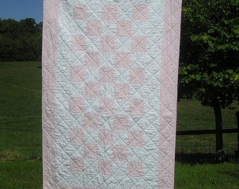 Handmade Baby Quilt - Cotton Crib Quilt - Classic Pink for Girls 34 x 58