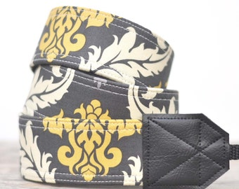 MADE TO ORDER - Camera Strap - Gray and Yellow Damask