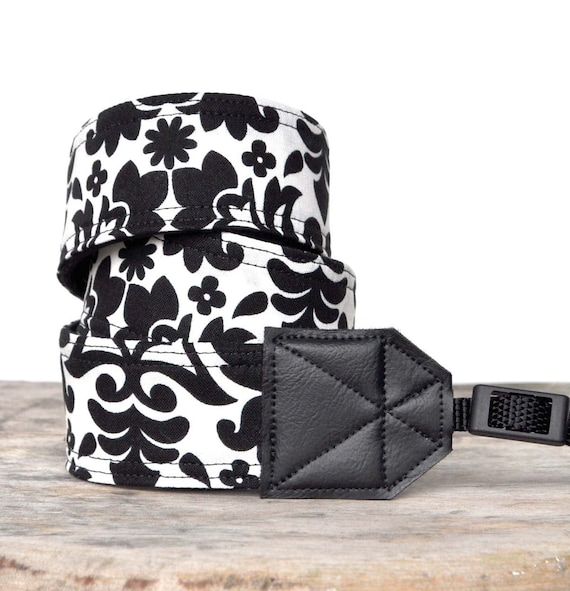 MADE TO ORDER - Camera Strap - Black and White Damask