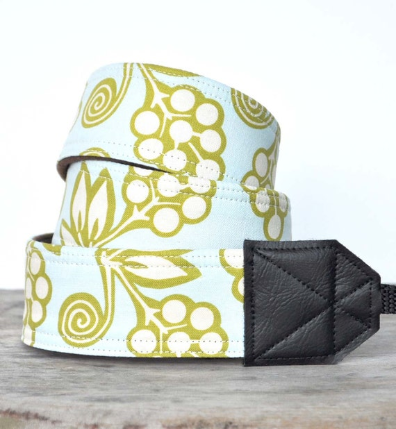 Blue and Green DSLR Camera Strap - Michael Miller Ginger Blossoms