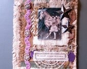 Collaged Fabric Wallhanging - Mixed Media - Vintage Circus Girl