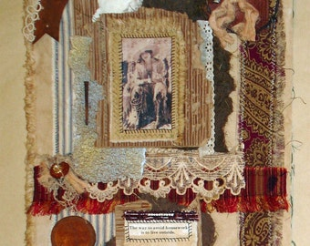 Collaged Fabric Wallhanging - Mixed Media - Avoid Housework - Vintage Cowgirl