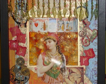Gypsy Fortune Teller Collage Shadowbox