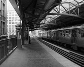 Chicago, Library 'L' Station: Black and White Photo