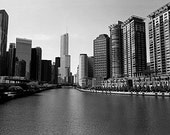Chicago Skyline from Lake Shore Drive: Black and White Photo