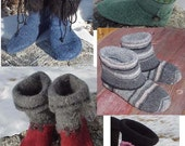 EZ Felted Slipper Boot Pattern Cut/Sew/Felt from Upcycled Wool Sweater