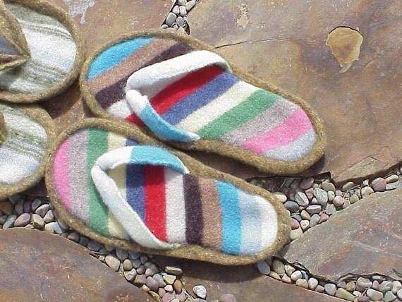 Felted Flip Flop Slippers Pattern - Use Wool Sweaters, CUT-SEW-FELT