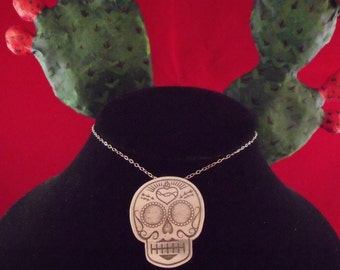 Sacred Heart Sugar Skull Pendant - Small