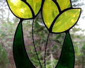 Yellow Tulips Stained Glass Suncatcher