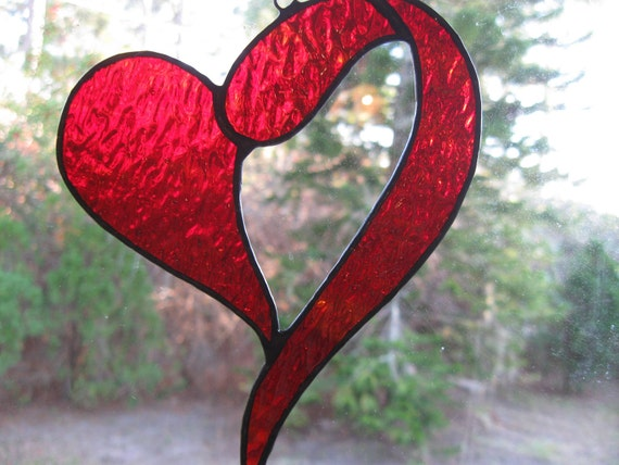 Red Heart Stained Glass Suncatcher Valentines