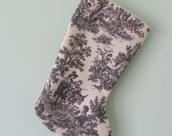 Christmas Stocking in Black and White Toile