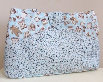 Large Diaper Bag/Tote in Blue and Brown Fabric