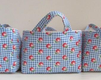 Fabric Storage Basket Organizer Bin in Blue Gingham and Cherry Print