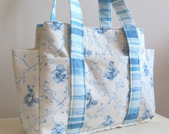Diaper Bag in Blue and Tan Nursery Rhyme Print Fabric