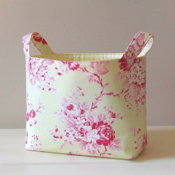 Fabric Storage Basket Organizer Bin Yellow with Pink Roses